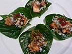 Tea Smoked Salmon in Betel Leaf Wrap w - Toas