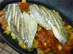 Yellow-Fin Silver Bream Grilled over Algerian Garlic Potatoes & Tomato C