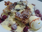 SOUR CHERRY & COCONUT BREAD & BUTTER PUDDING